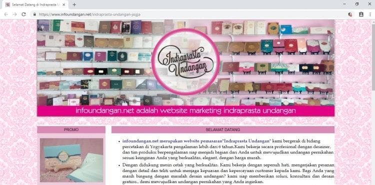 Website Percetakan Undangan Perkawinan : Indraprasta Undangan