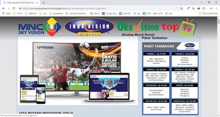 Paket Web Minisite 500rb : Jasa Pasang MNC Vision Jogja