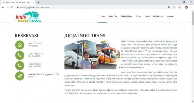 Website Rental Bus & Paket Wisata : Jogja Indo Trans
